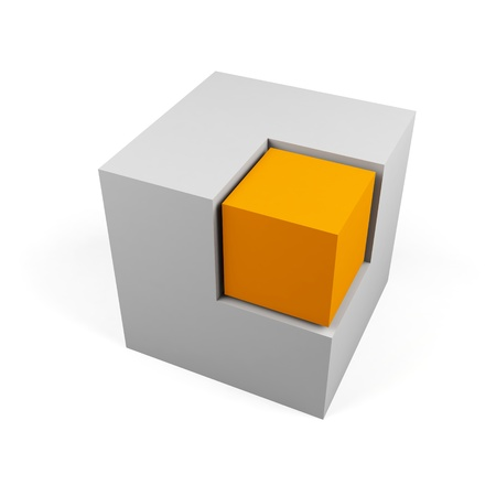 3d cube isolated on a white  photo