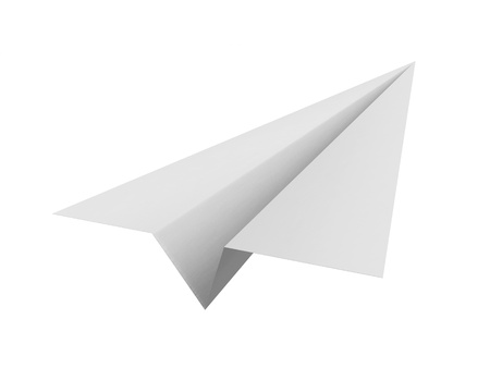 toy plane: Paper airplane on white background  Stock Photo