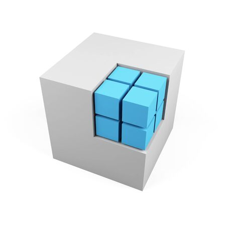 specular: 3d cube isolated on a white
