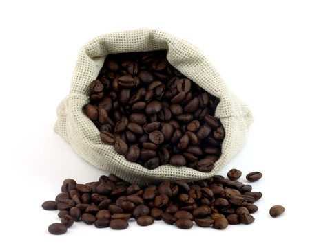 Coffee beans in canvas sack  Stock Photo