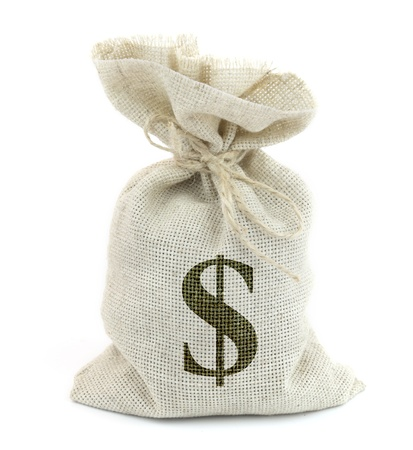 Bag from Dollars isolated on a white background. Stock Photo - 18709093