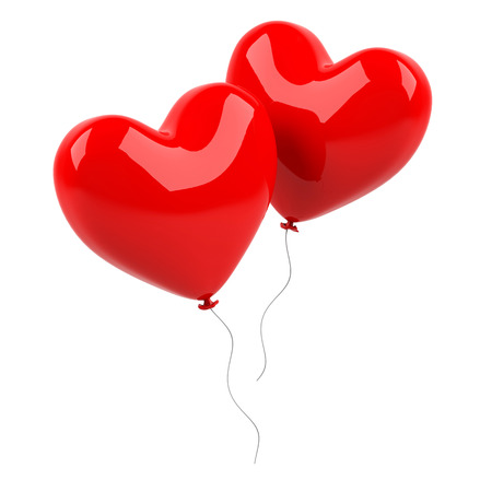 Red heart balloons on a white background