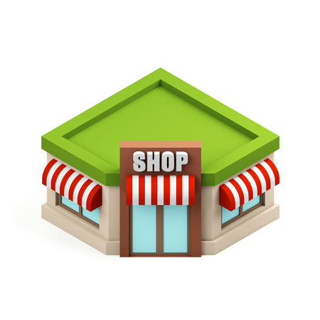 Miniature store illustration. Shopping building icon. Cartoon shop isolated on white background. 3d rendering image.
