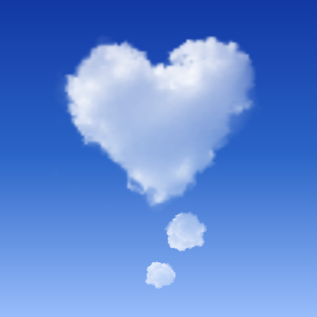 Realistic Heart shaped cloud in the blue sky.