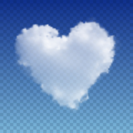 Realistic vector cloud heart. Vector image on transparent background. Illustration