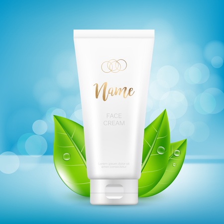 Vector design of cosmetic package advertising template for hand or face cream
