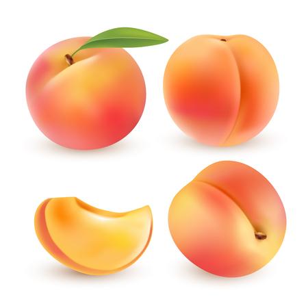 ピーチ。甘い果実。3 d ベクトルのアイコンを設定します。リアルなイラスト