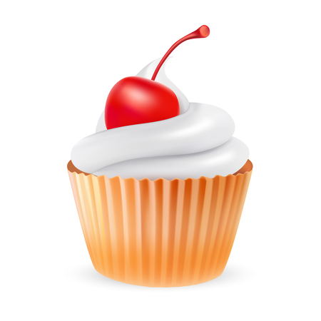 glace: Cherry cupcake, vector illustration isolated