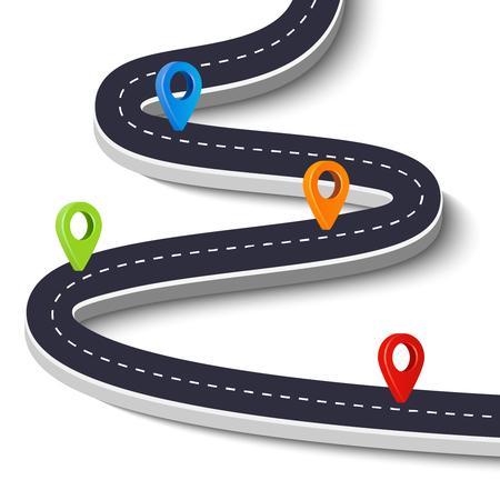 Windende weg geïsoleerd op een witte achtergrond. Road way locatie infographic template met pin pointer. Vector afbeelding