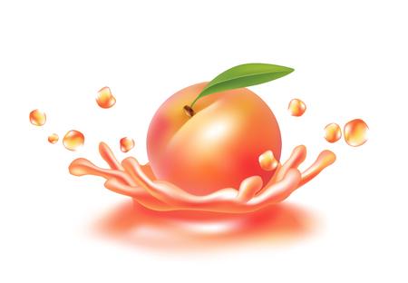 A splash of juice with peach . Realictyc image. Illustration