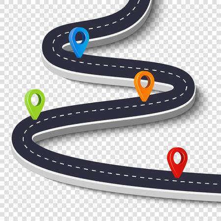 曲がりくねった道は、白い背景で隔離。道路の方法場所インフォ グラフィック テンプレート ピン ポインター。ベクトル画像 写真素材