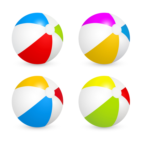 Colorful beach balls set. Vector image isolated on white background