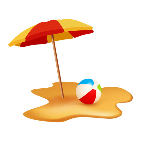 Summer holidays objects. Beach ball and umbrella. Vector illustration isolated on white