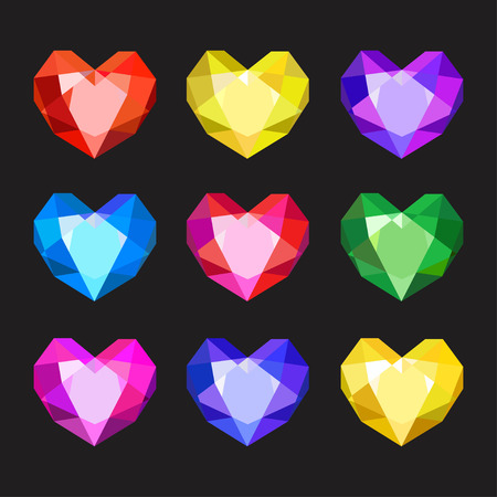 Set of cartoon different color crystals, gemstones, gems, diamonds vector. Vector image on black background. Illustration