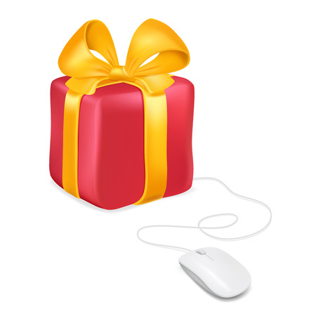Mouse attached to a gift box. Buying gifts by online shopping. Vector image isolated