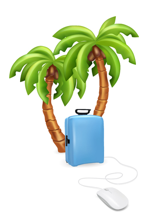 lugage: Holiday vacation suitcase mouse concept. Palm tree with suitcase. Vector illustration Illustration