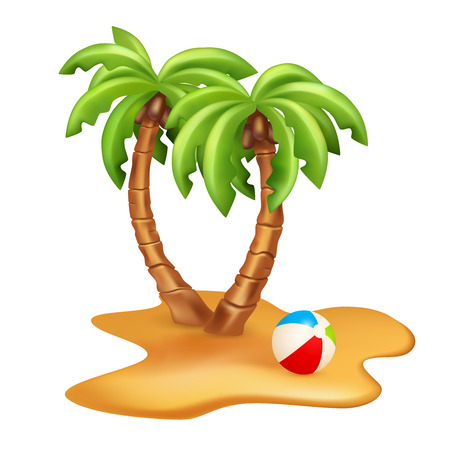 subtropical: Vector Illustration of two palm trees with ball. Vector image isolated on white