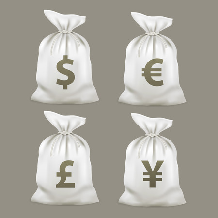 metal mesh: Money bags with currency symbols. Vector illustration