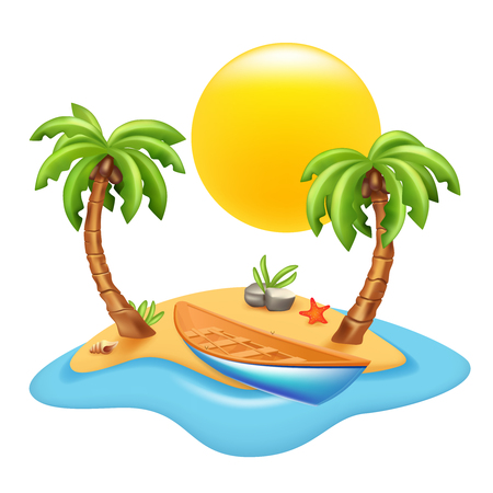 Tropical island with boat and palm trees. Vector image