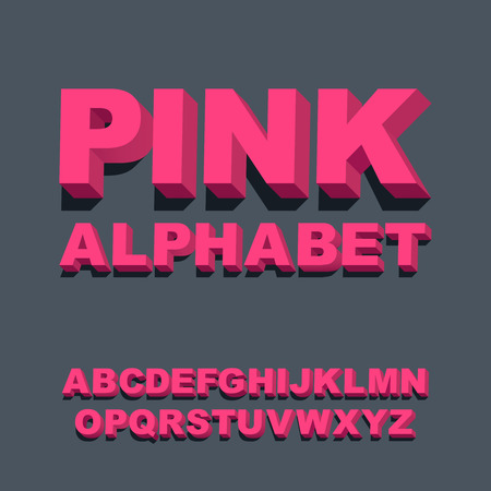 alphabetic character: 3d font. Three-dimensional pink alphabet letters. Vector illustration. Illustration
