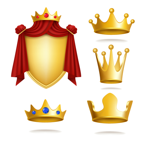 Set of vector icons of royal golden crowns and coat of arms isolated on white. Vector image