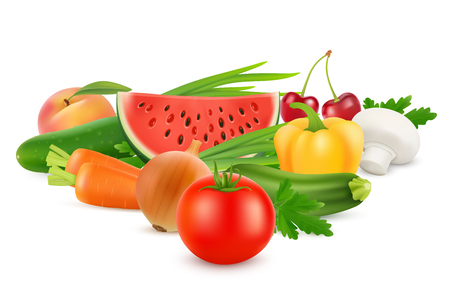 Fresh Vegetables and Fruits Healthy Food. Vector image