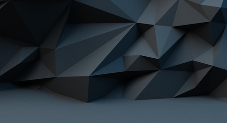 Abstract black background with polygonal pattern. 3d illustration