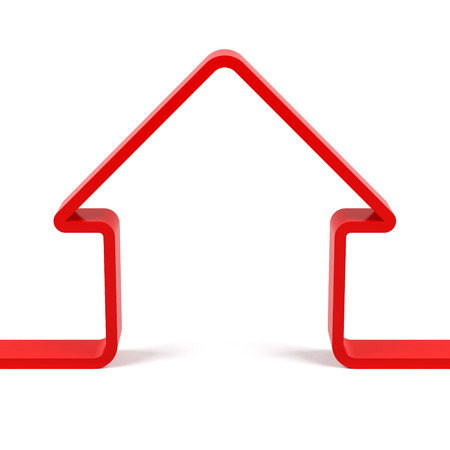 빨간 집 개요입니다. 3D 렌더링 이미지
