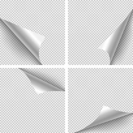 Papel esquina dobleces. Conjunto de cuatro pliegues de esquina de papel sobre fondo transparente.