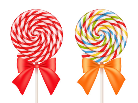 Colorful and red lollipops isolated on white. Realistic vector illustration