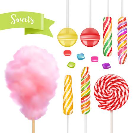Conjunto de caramelos. Caramelo de remolino, caramelo de algodón, dulce lollipop Ilustración de vector
