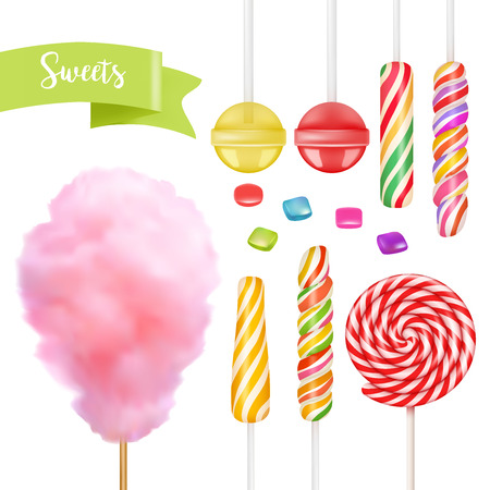 Candy set. Swirl caramel, cotton candy, sweet lollipop