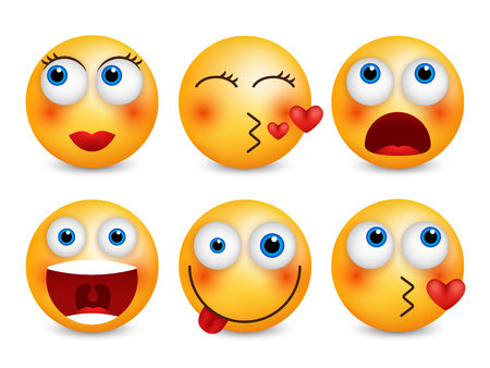 Set of emoji. Smileys vector set. Isolated vector illustration Ilustracja