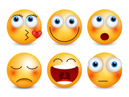 Set of emoji. Smileys vector set. Isolated vector illustration Vectores