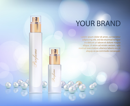 A Vector illustration of a realistic style perfume in a glass bottle on a blue violet background Vector image.