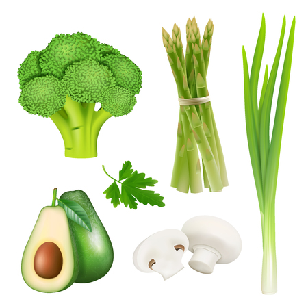 Set of realistic vegetables isolated icons on white background with avocado broccoli asparagus mushrooms. Vector illustration Illustration