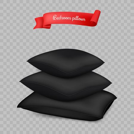 Realistic black vector pillows on transparent background. Illustration
