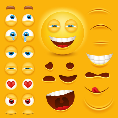 Cartoon yellow 3D smiley face vector character creation constructor.