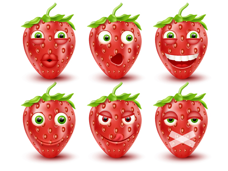 Set of 3d strawberry emoticons. Smileys emoticons.Vector image