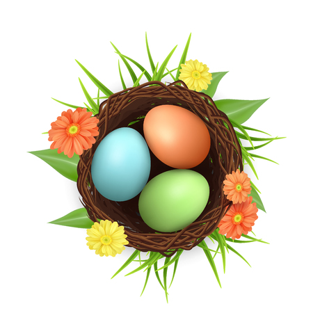Bird nest with easter eggs. 3d vector icon.