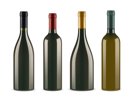 Set of wine bottles isolated on white background. 3d realistic vector image