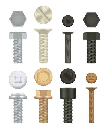 Construction hardware icons. Set of screws, bolts. 3d vector realistic