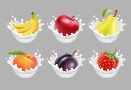 Collection icons of fruit and berries in a milk splash. 3d vector set