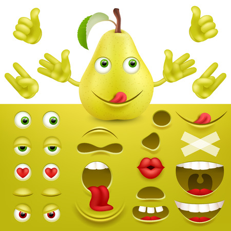 Emoji, smiley creator from pear. Collection of details for creating emotions. Vector image.