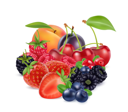 Fresh berries and fruits. 3d realistic vector image.