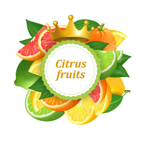 Round frame background with citrus fruits. 3d realistic vector, vector label Illustration