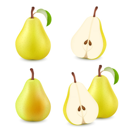 Pears isolated on white background. 3d realistic vector image Illustration