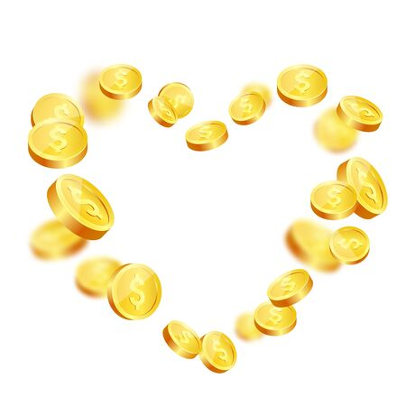 Realistic gold coins explosion. Isolated on white background. Stock Photo