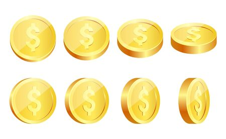 Gold coins set isolated on white in different positions. Stock Photo