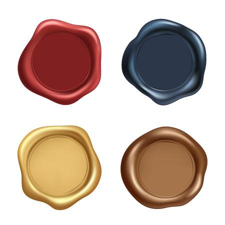 Stempel-Wachs-Siegel-Vektor-Icons gesetzt. Wachsen Sie alte realistische Briefmarkenaufkleber auf weißem Hintergrund. Vektorbild
